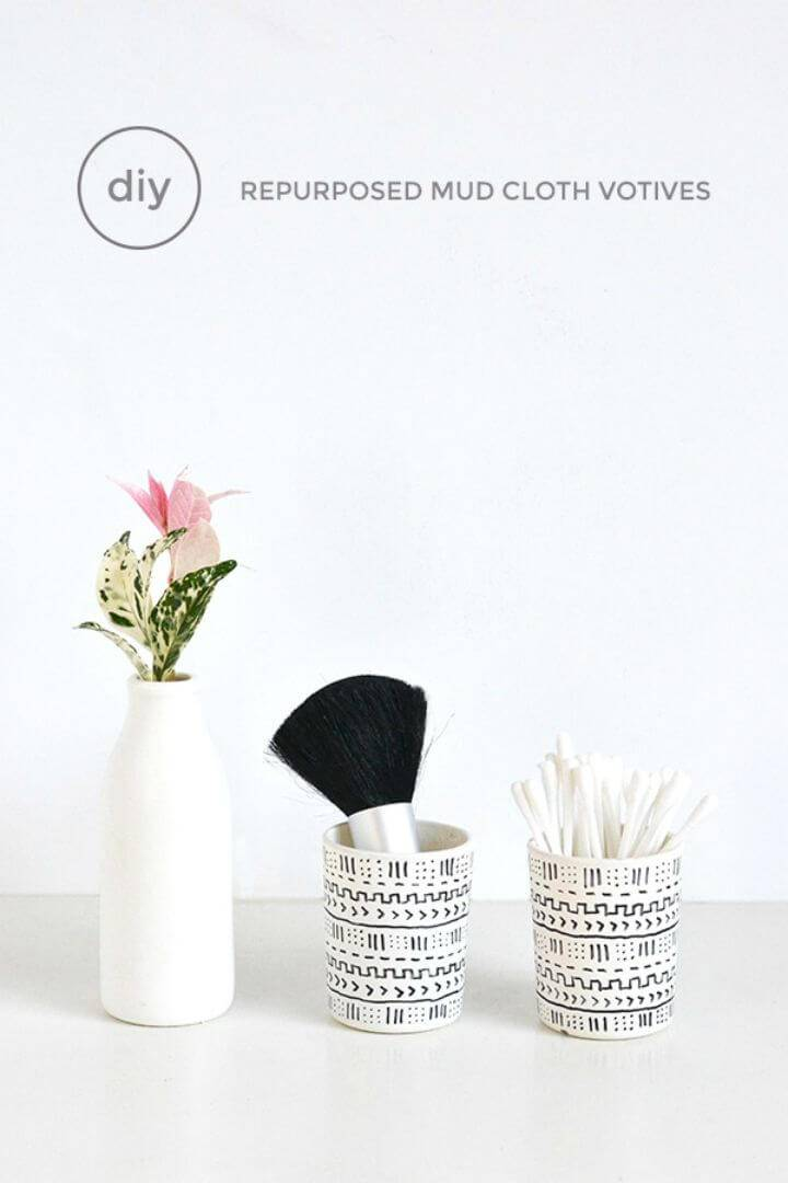 How To Make Mud Cloth Inspired Votives - DIY
