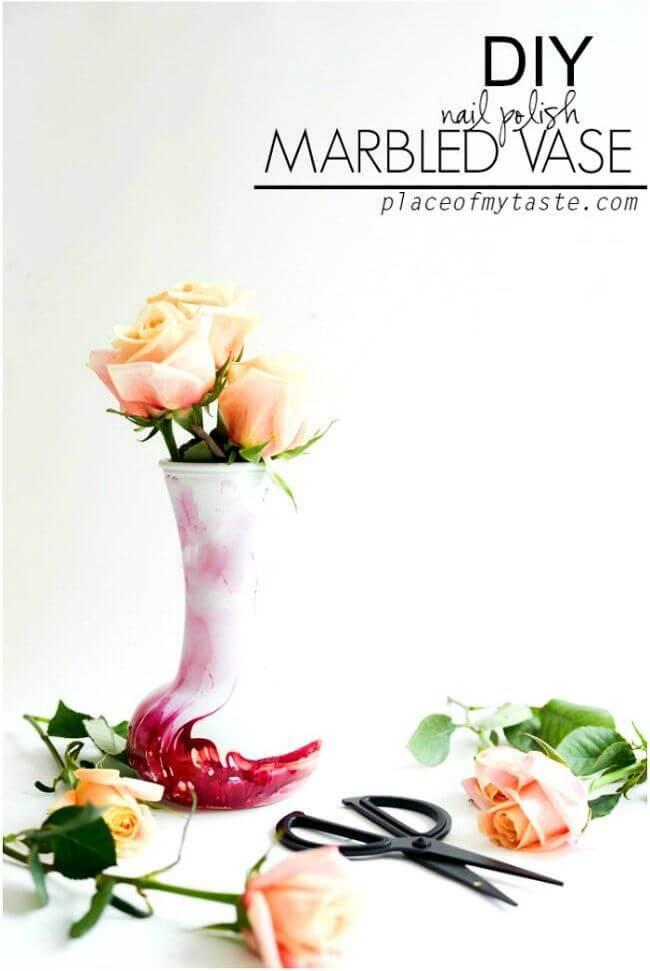 Easy To Make Nail Polish Marbled Vase - DIY