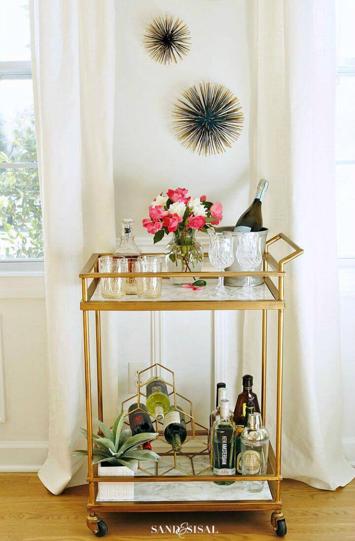 Gorgeous DIY Faux Marble Bar Cart Makeover