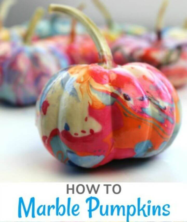 DIY Marble A Pumpkin with Nail Polish