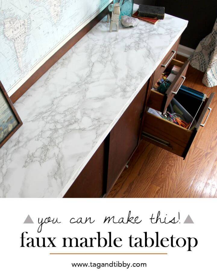 How To Make Faux Marble Tabletop - DIY