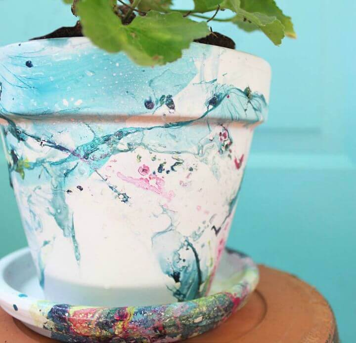 How To Make Marbled Flower Pot - DIY