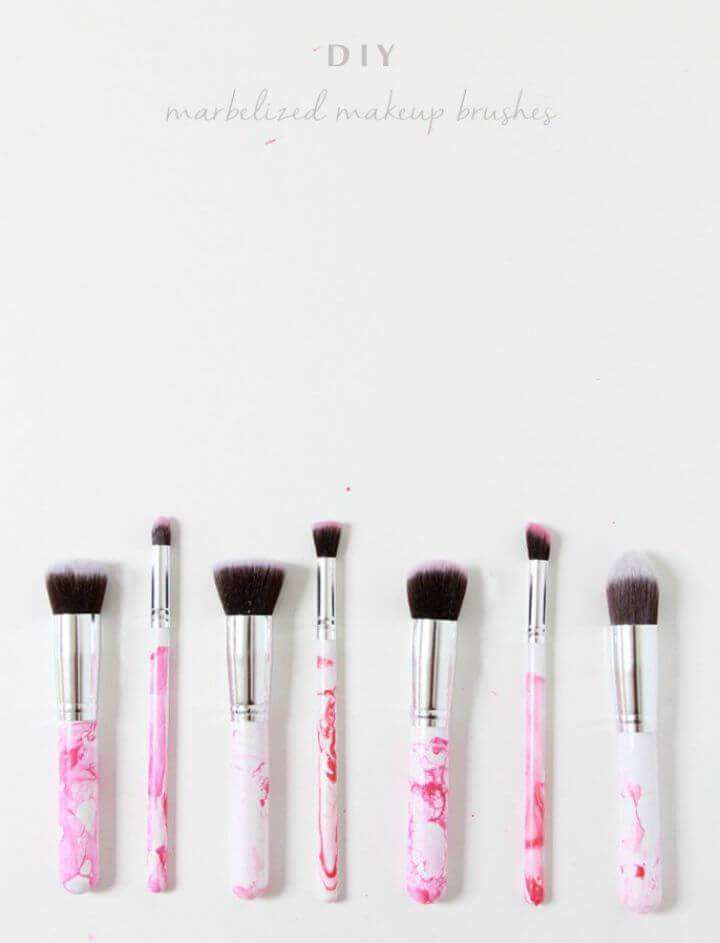 How to Make Marbleized Makeup Brushes - DIY