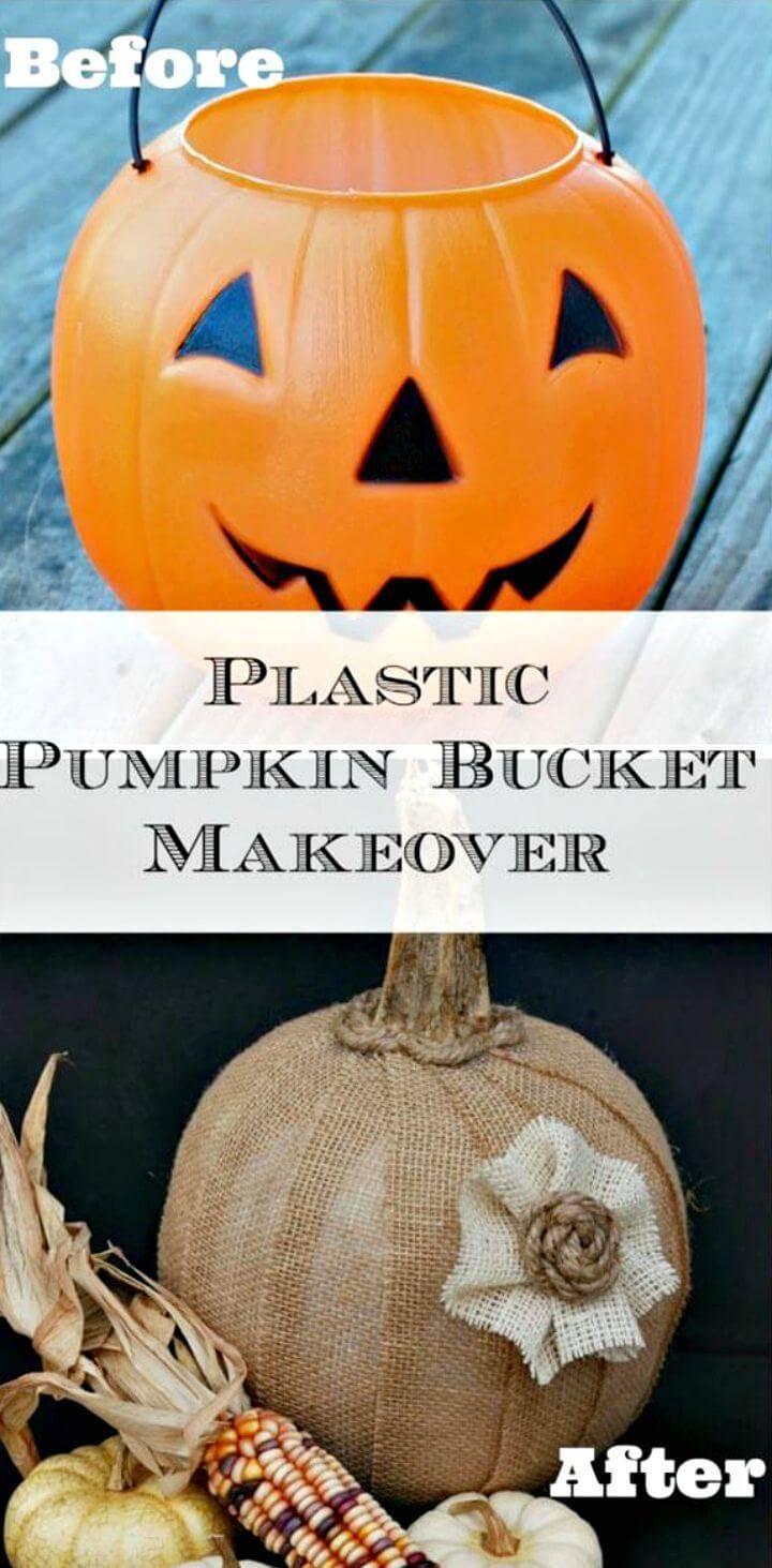 Make Burlap Covered Pumpkin Bucket