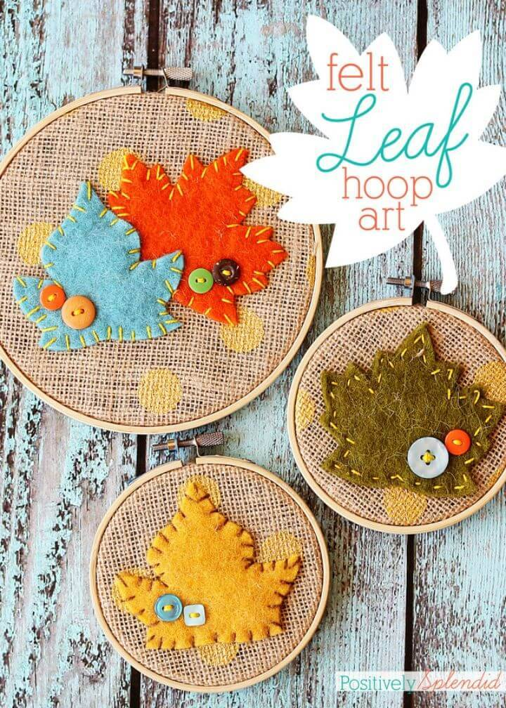 Make Burlap Leaf Embroidery Hoop Art