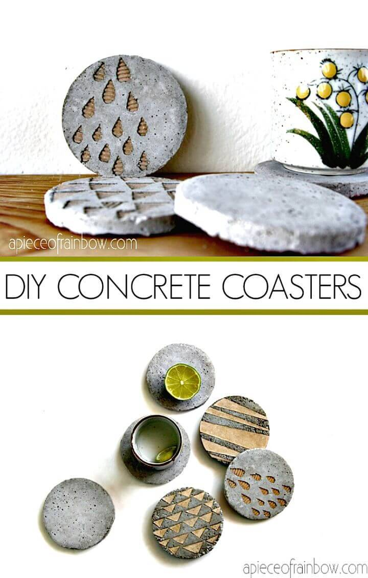 DIY Concrete Coasters with Decorative Inserts