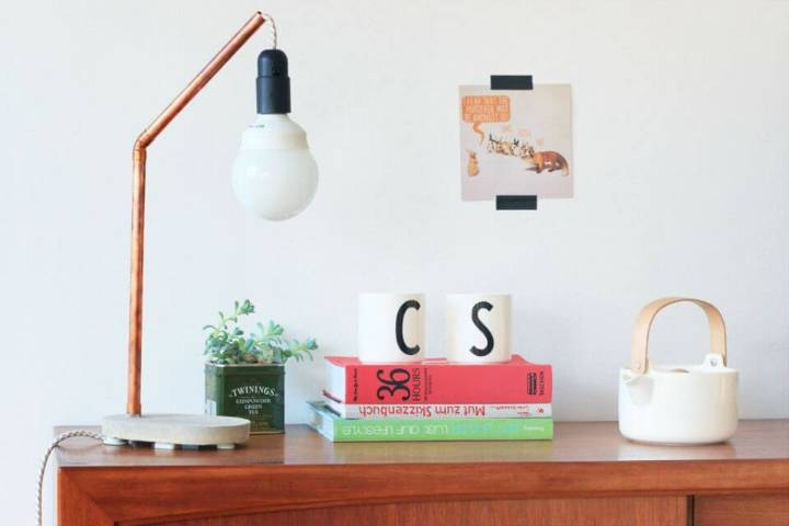 DIY Copper Concrete Lamp