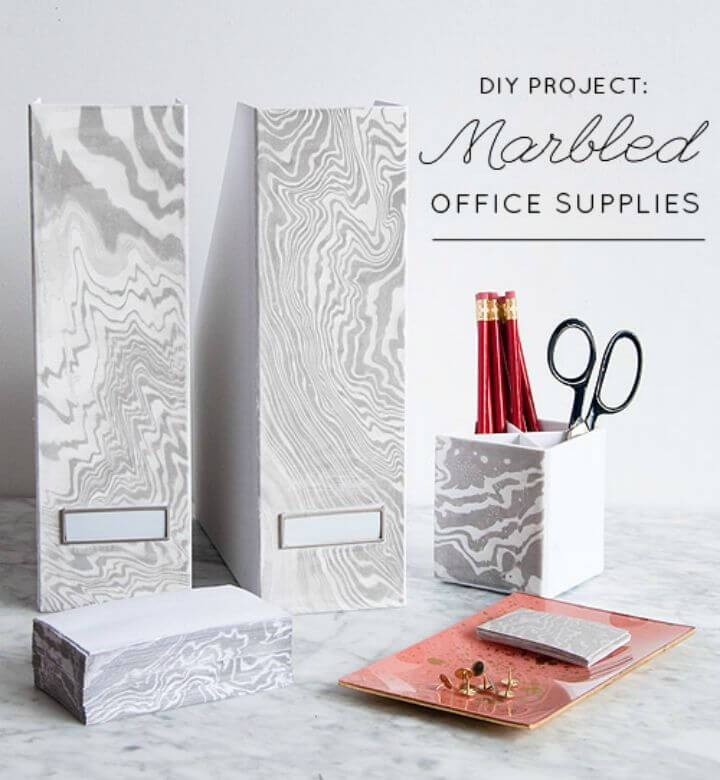 Useful DIY Marbled Office Supplies