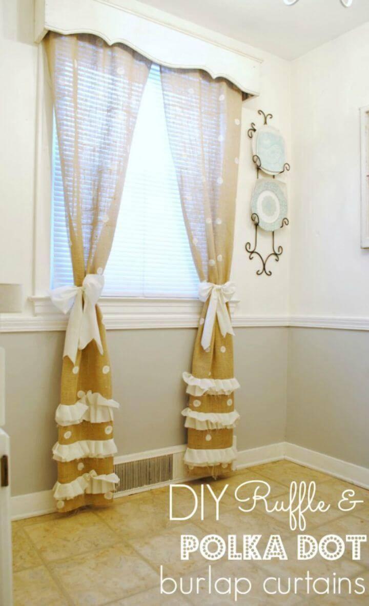 Make Polka Dot Burlap Curtains