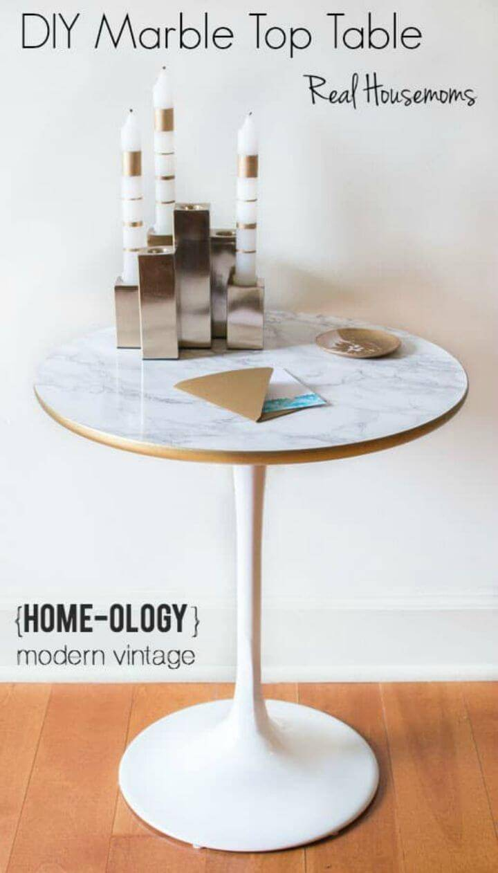 Modern DIY Faux Marble Top Table for Decor