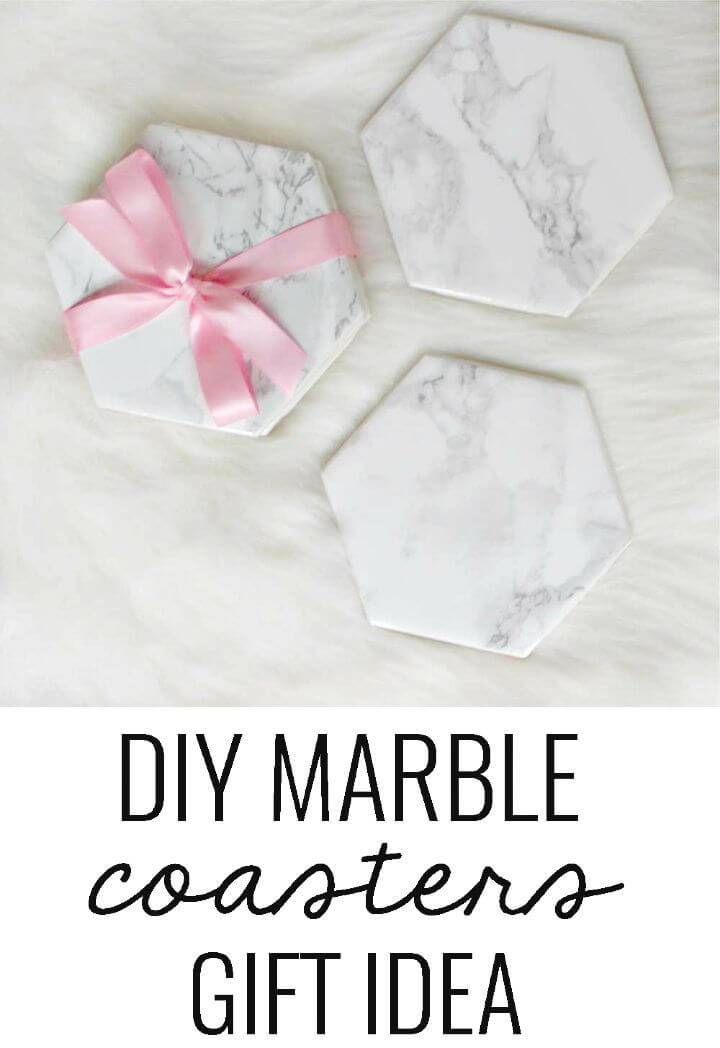 Easy to Make Marble Coasters Gift - DIY