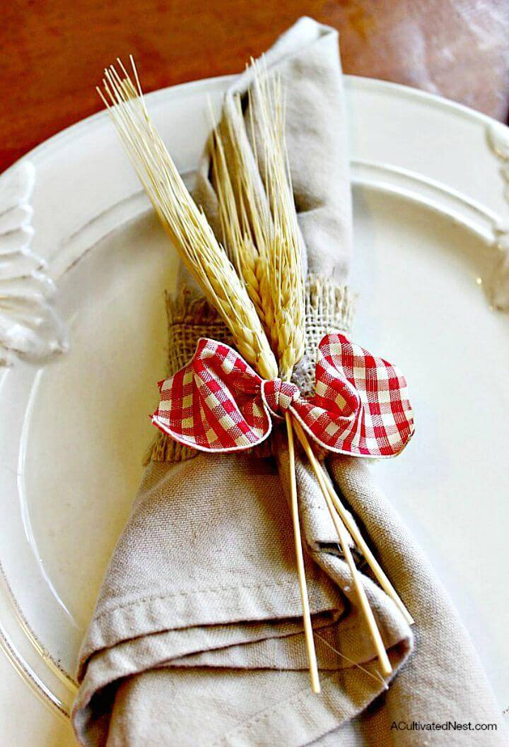 DIY Burlap Gingham & Wheat Napkin Ring