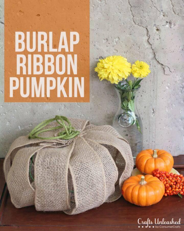 Simple DIY Burlap Ribbon Pumpkin
