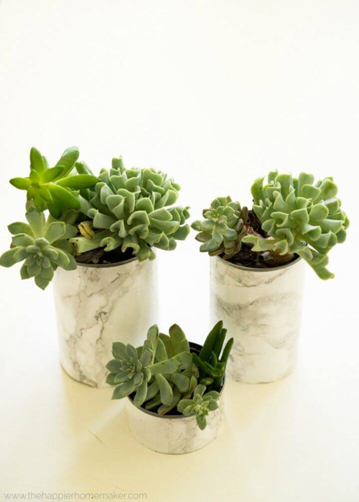 Make Faux Marble Succulent Planters - Super Easy DIY
