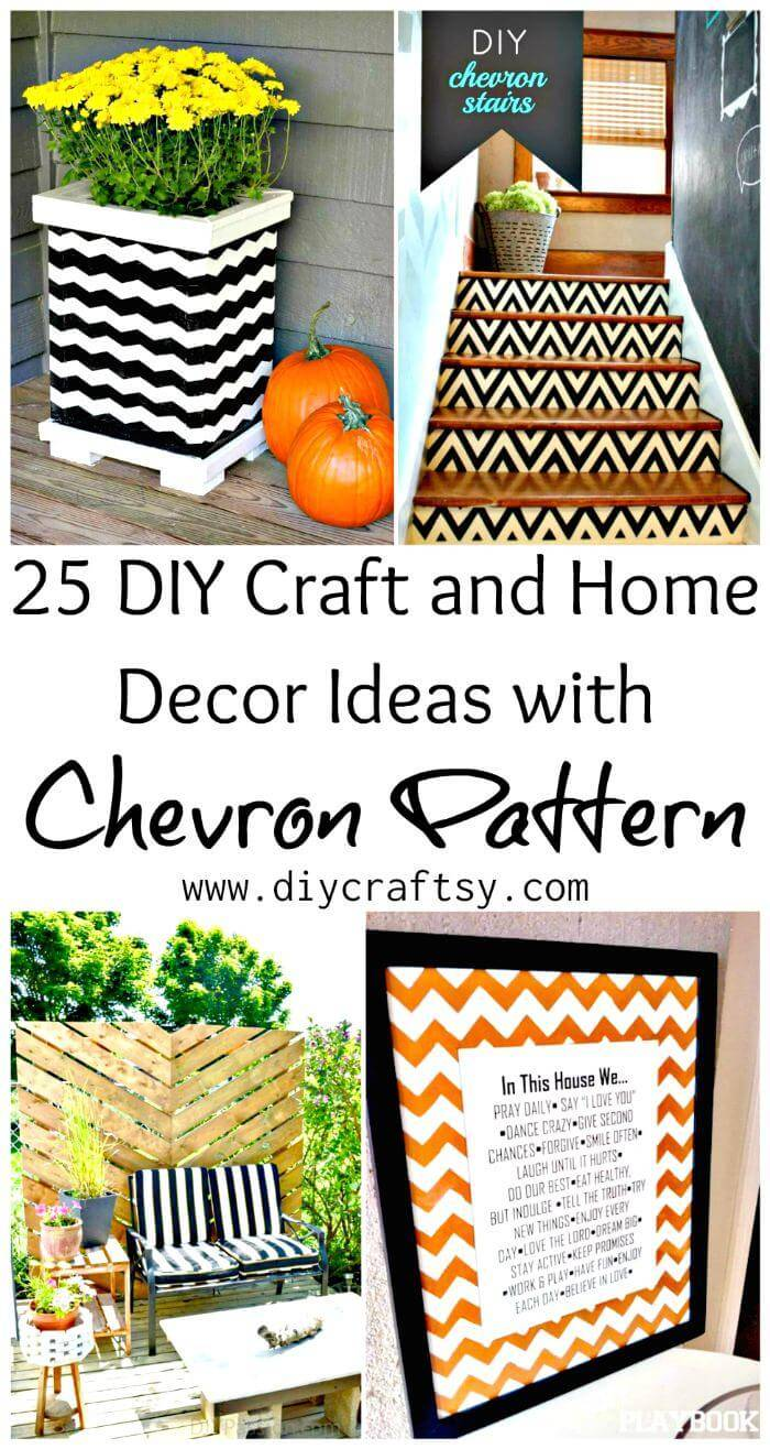 25 DIY Craft and Home Decor Ideas with Chevron Pattern, DIY Home Decor Projects, DIY Craft Ideas, DIY Projects, DIY Ideas, Chevron Projects