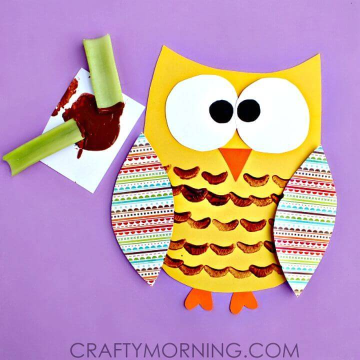 DIY Celery Stamped Owl Craft for Kids
