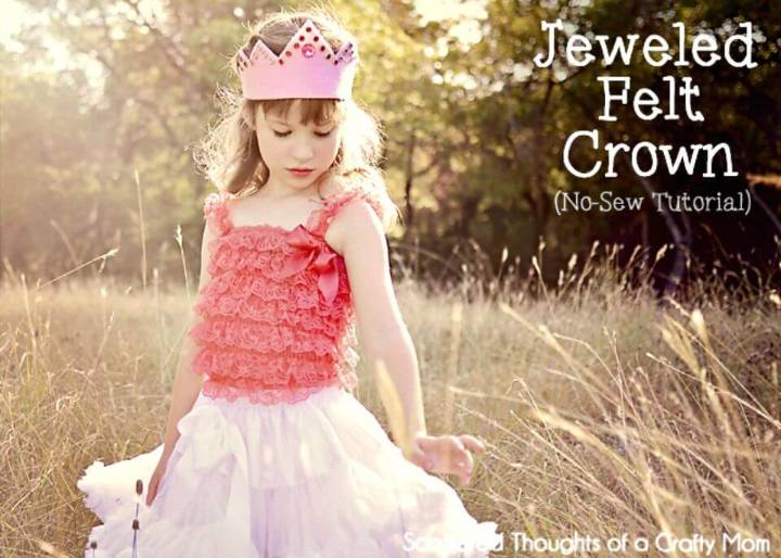 Cute DIY Jeweled Felt Crown for Little Princess