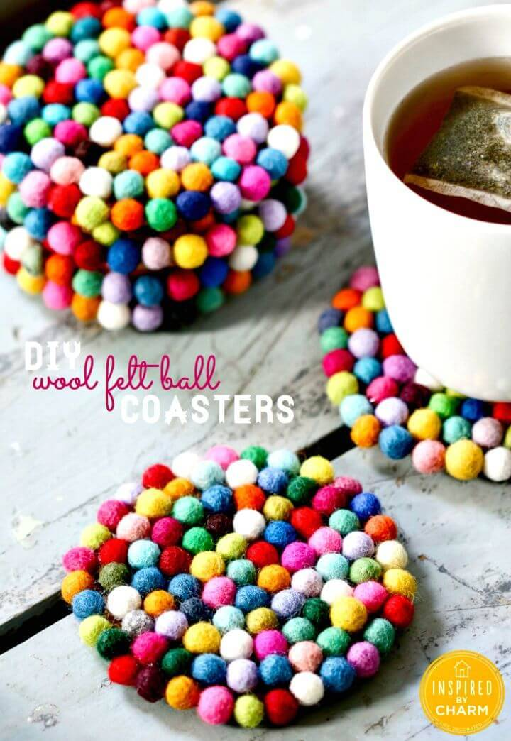 Cute DIY Wool Felt Ball Coasters