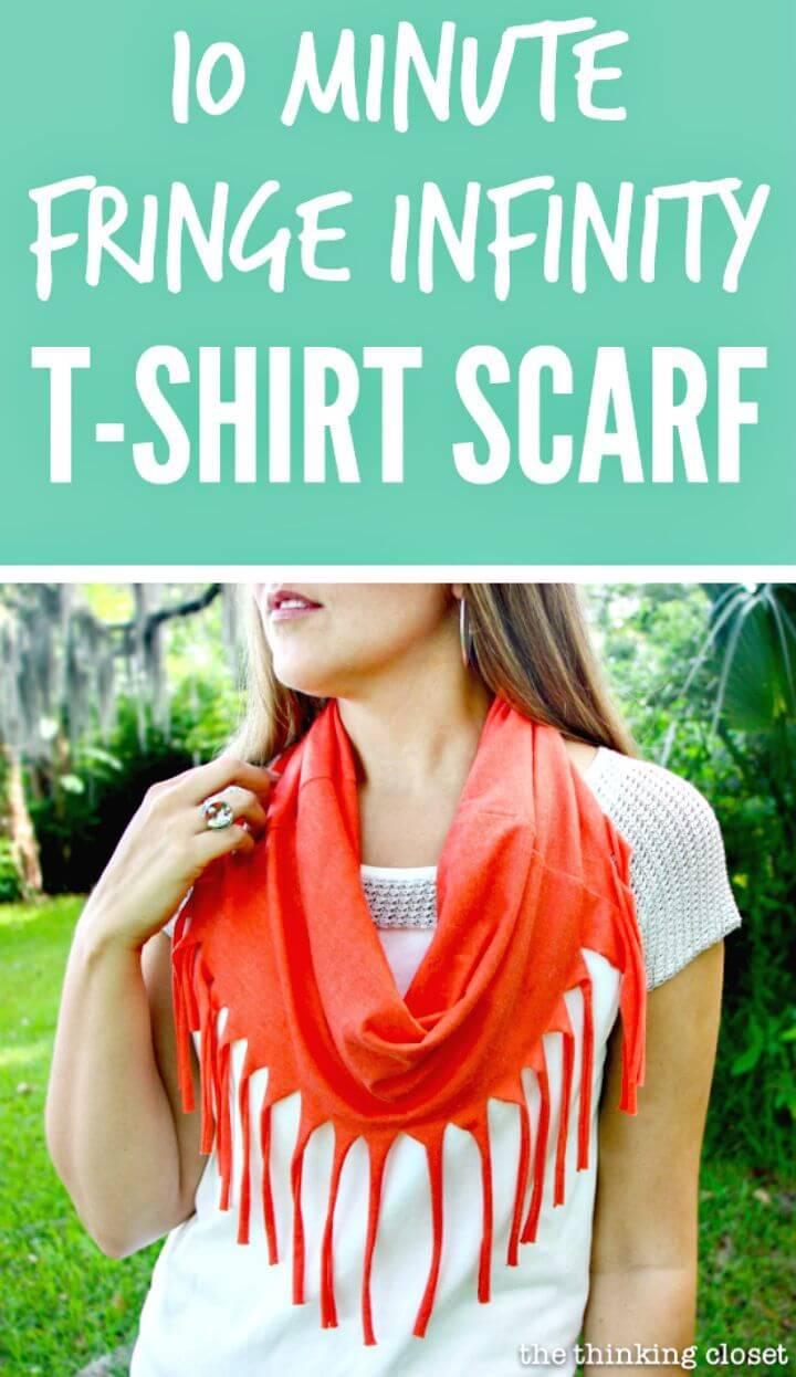 DIY 10 Minute Fringe Infinity T-shirt Scarf