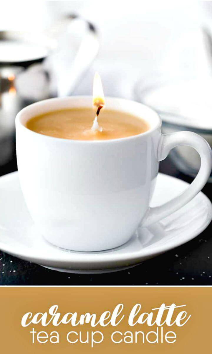 Make a Caramel Latte Tea Cup Candle - DIY for Coffee Lovers