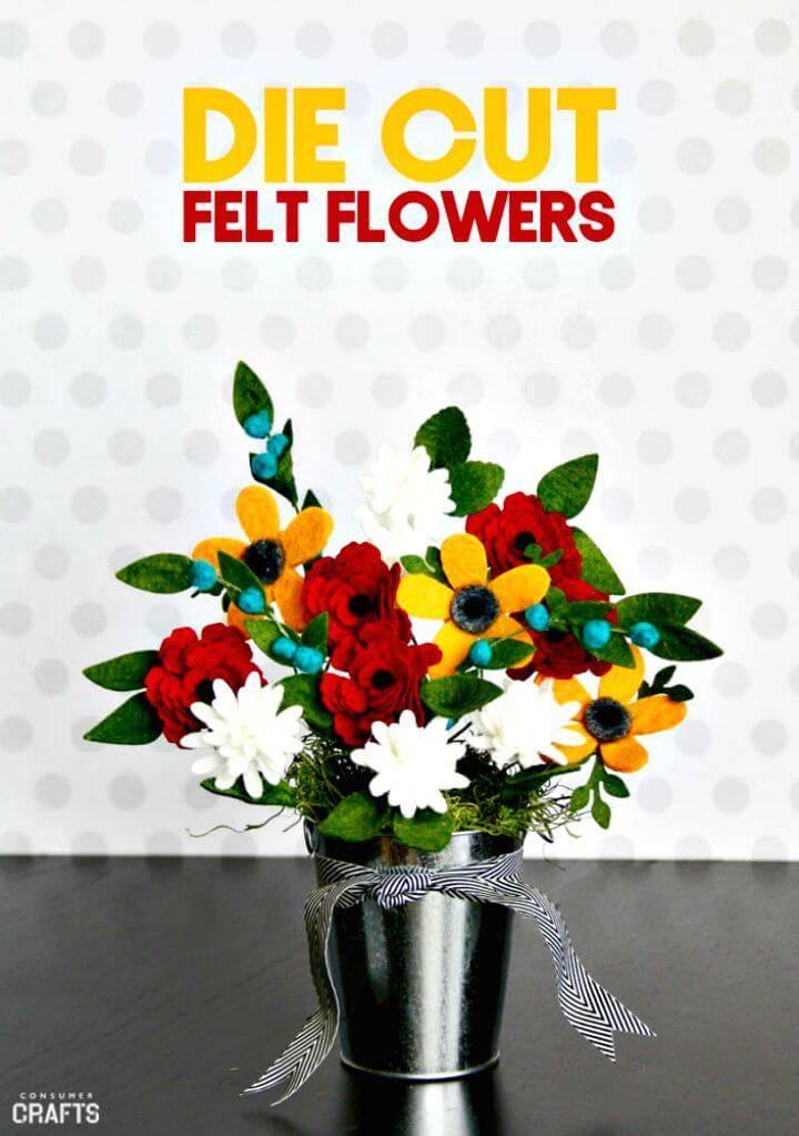 DIY Die-cut Felt Floral Arrangement