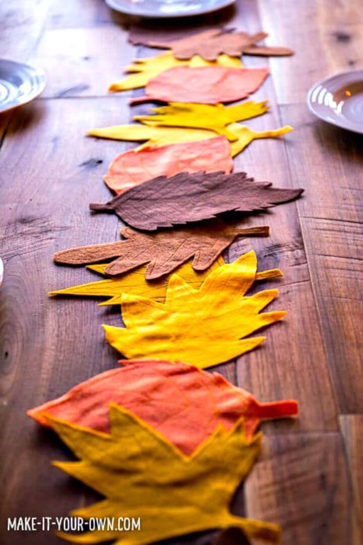 DIY Felt Leaf Table Runner