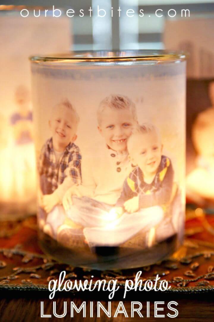 DIY Glowing Photo Luminaries - Gift Ideas