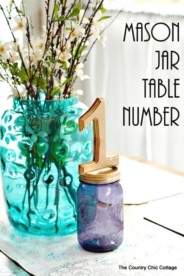 DIY Mason Jar Table Number For Weddings