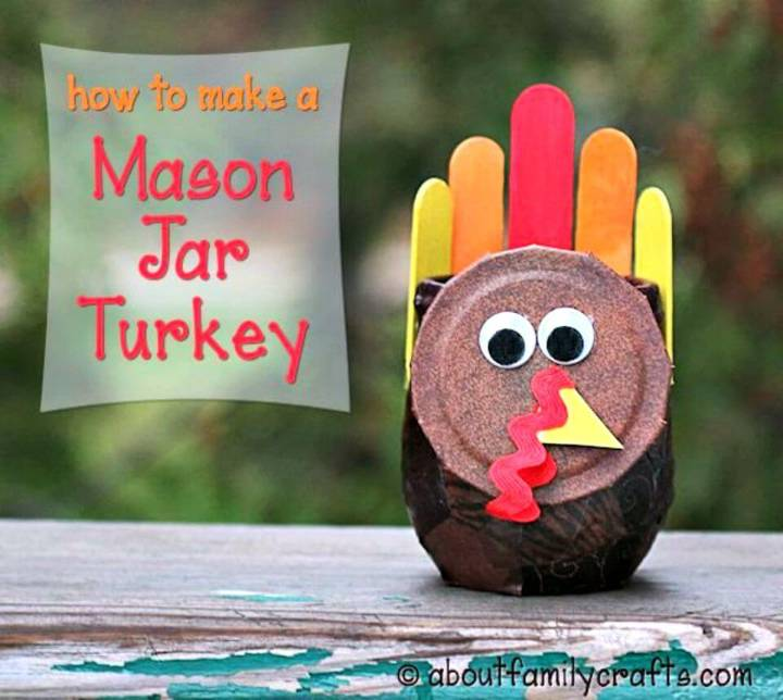 DIY Mason Jar Turkey Craft