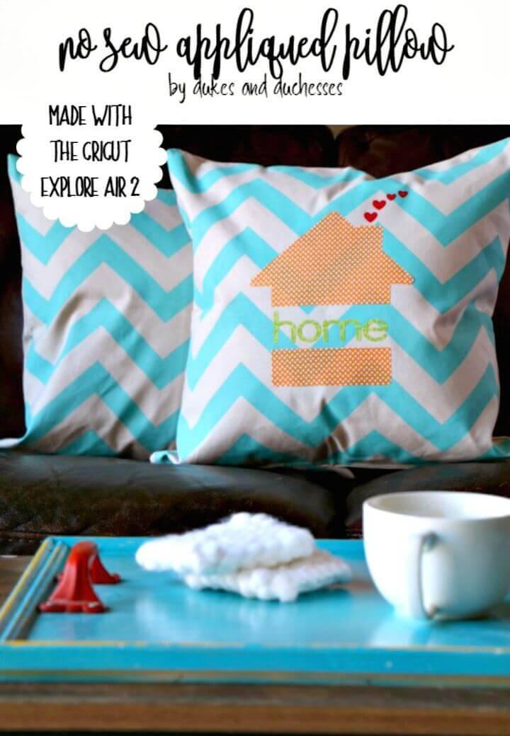 Easy DIY No Sew Appliqued Pillow