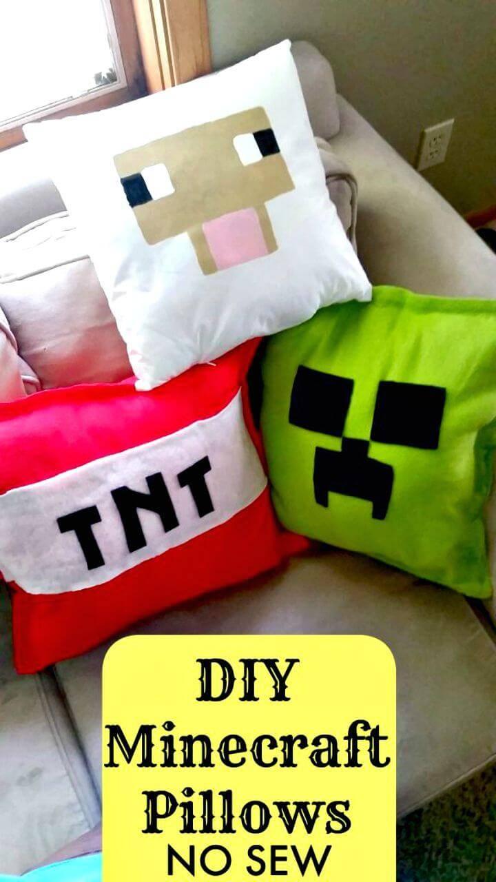 Quick DIY No Sew Minecraft Pillows