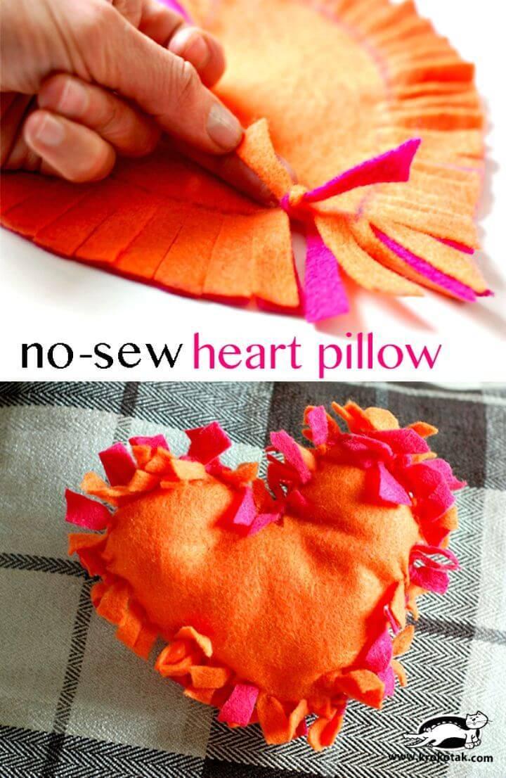 DIY No-sew Heart Pillow