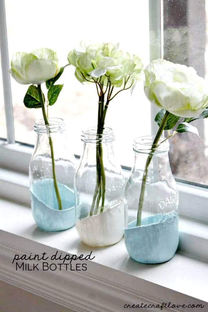 DIY Paint Dipped Milk Bottles - Last Minute Gift