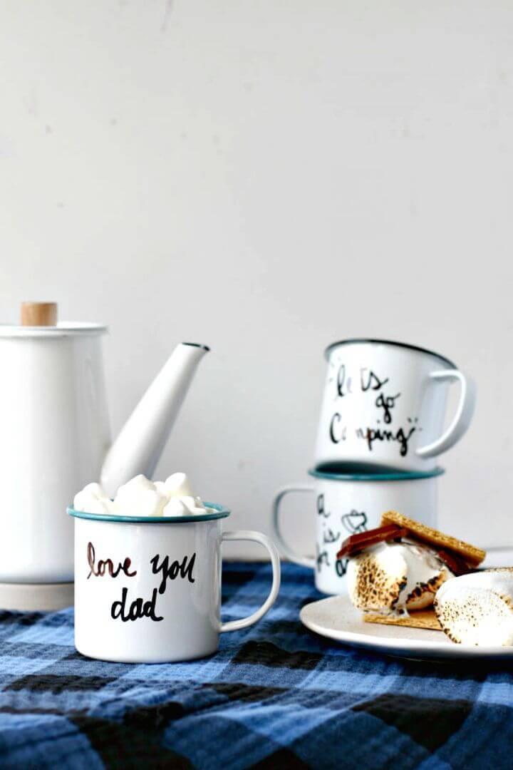 Make Personalized Enamel Mug Gifts - Last Minute DIY Gift