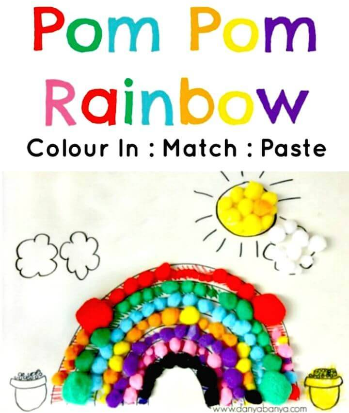 DIY Pom Pom Rainbow Collage