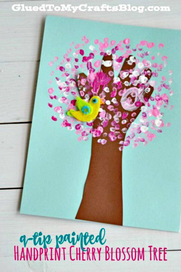 DIY Q-tip Painted Handprint Cherry Blossom Tree