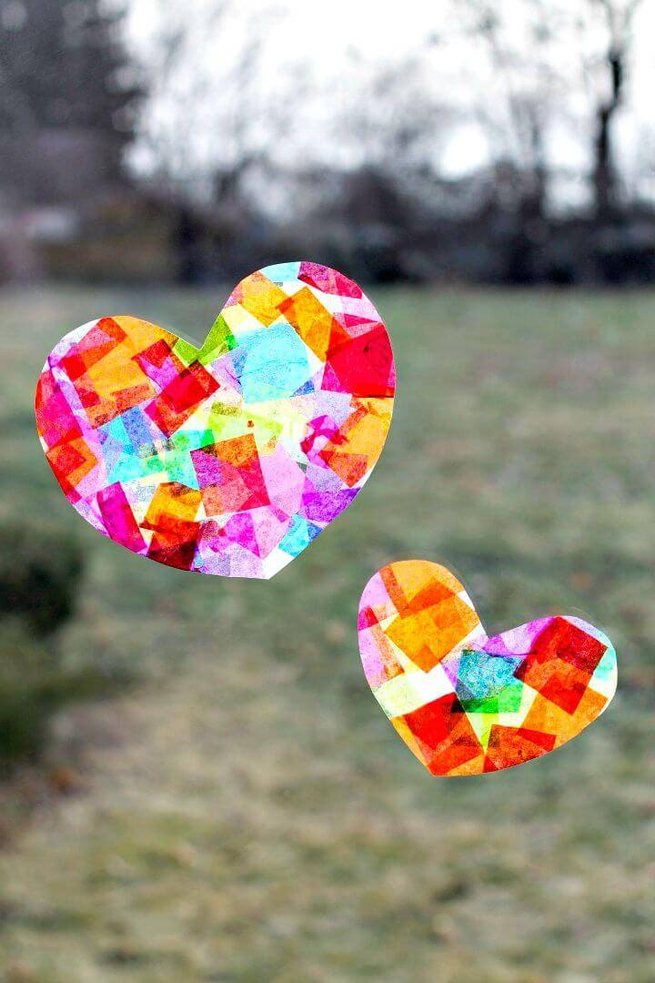 DIY Rainbow Heart Suncatchers