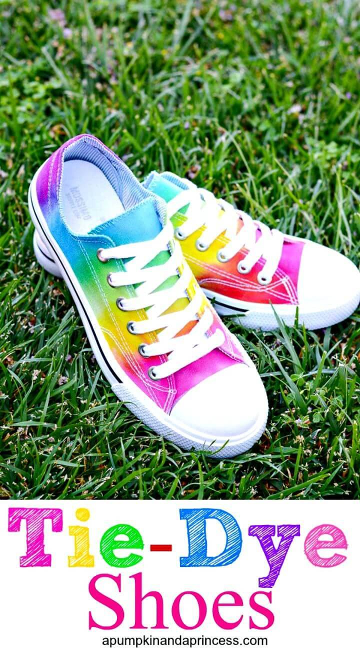 Beautiful DIY Rainbow Tie-dye Shoes