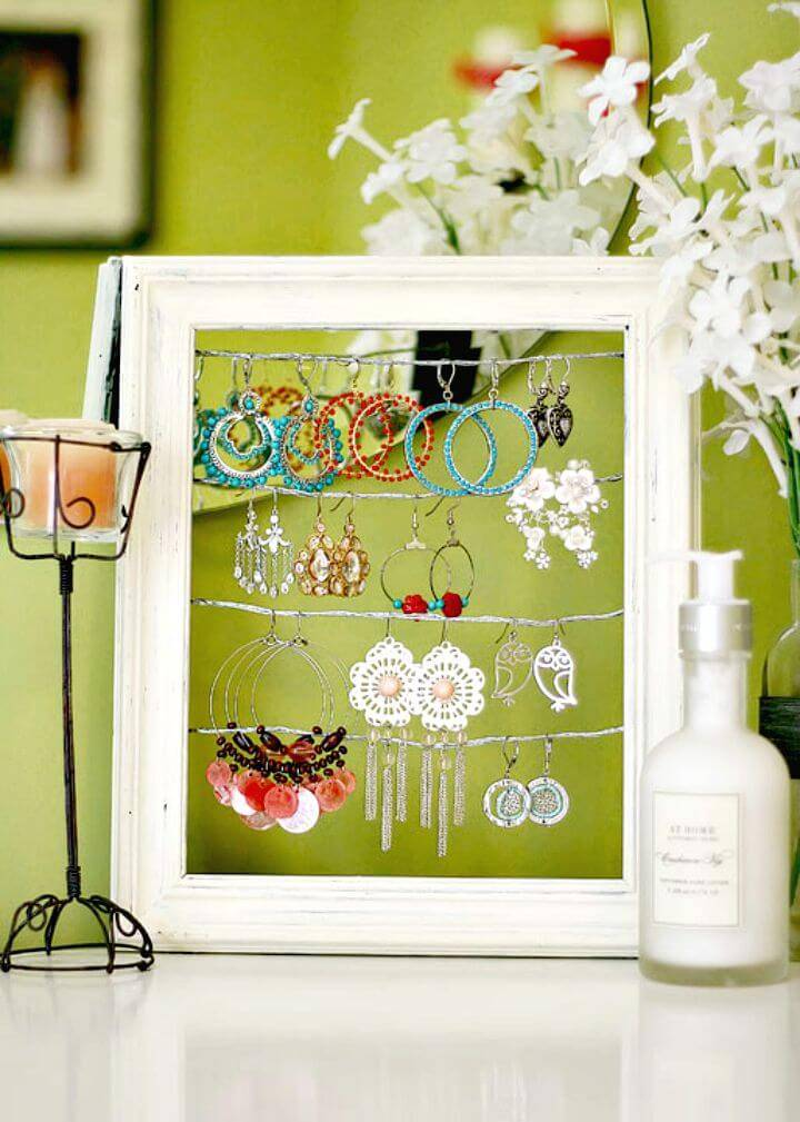 DIY Shabby Chic Dangly Earring Display