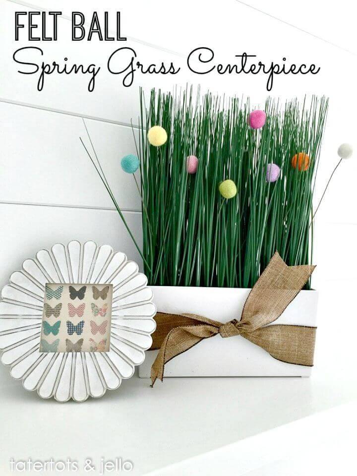 DIY Spring Felt Ball Grass Centerpiece