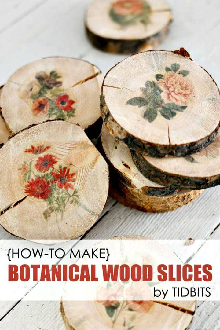 Easy DIY Botanical Wood Slices