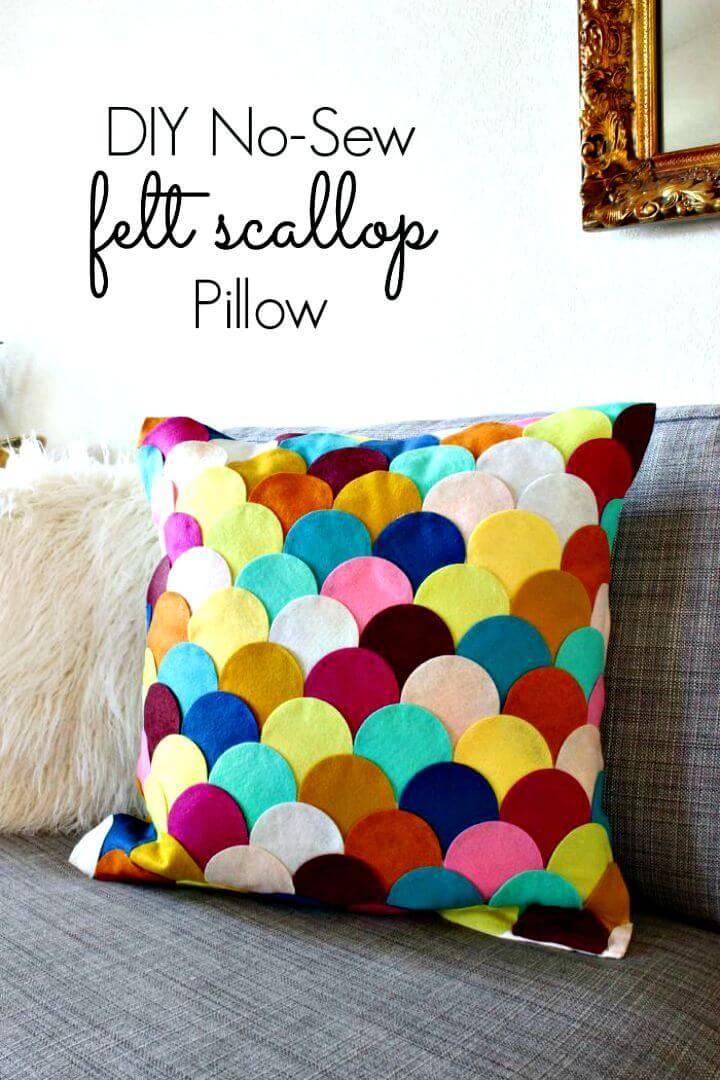 Easy DIY Felt Scalloped Pillow