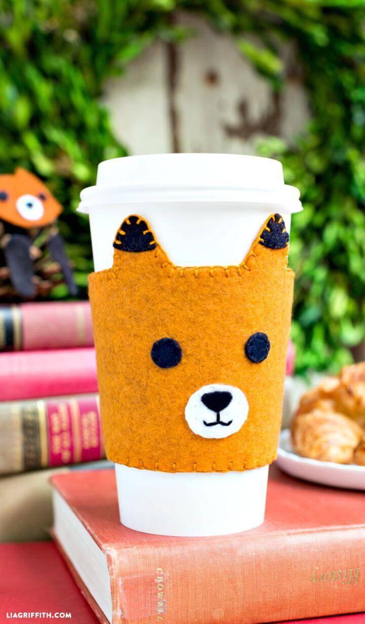 DIY Hand-stitched Felt Fox Coffee Sleeves