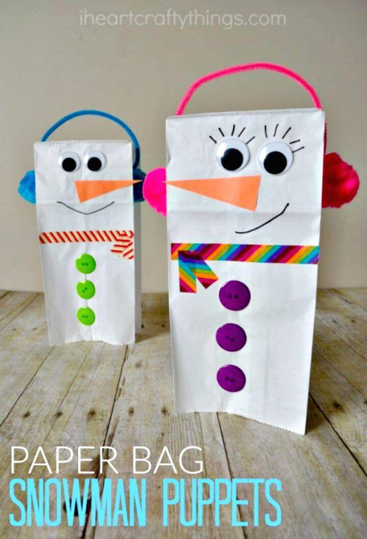 Easy DIY Paper Bag Snowman Puppet
