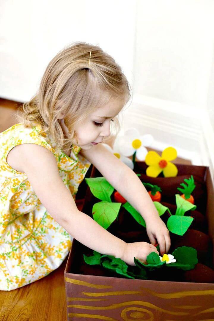 DIY Plantable Felt Garden Box for Kids