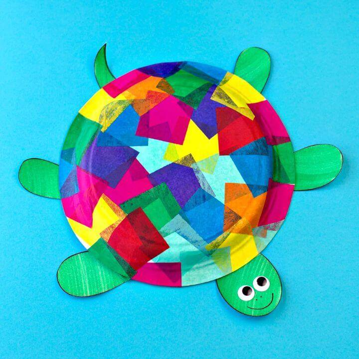 DIY Tissue Paper and Paper Plate Turtle