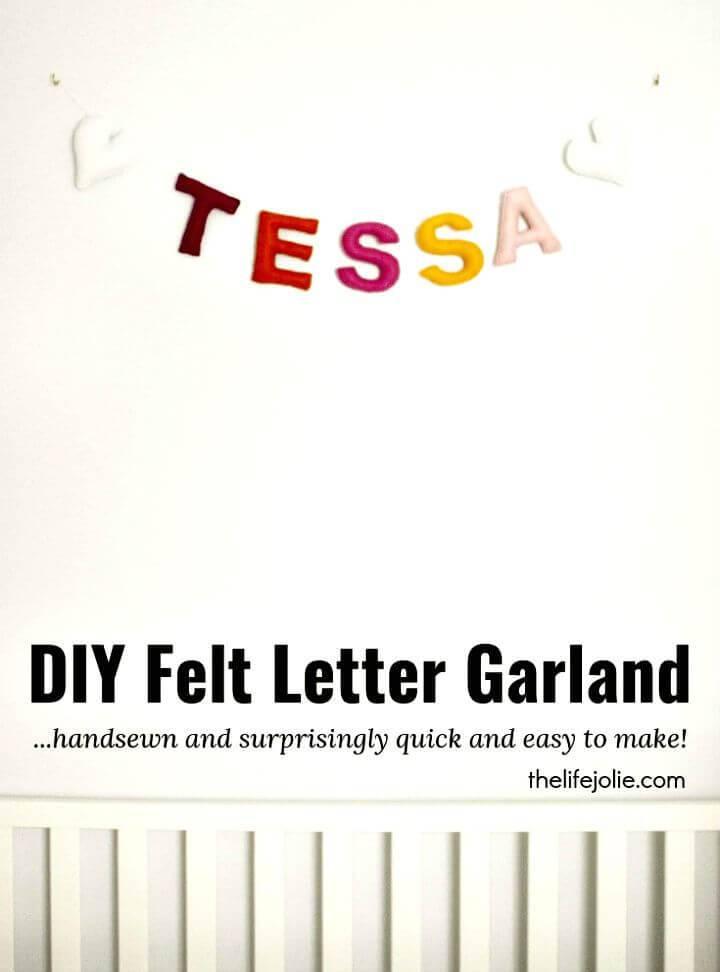 How To Make Felt Letter Garland - DIY Kid Room Decor