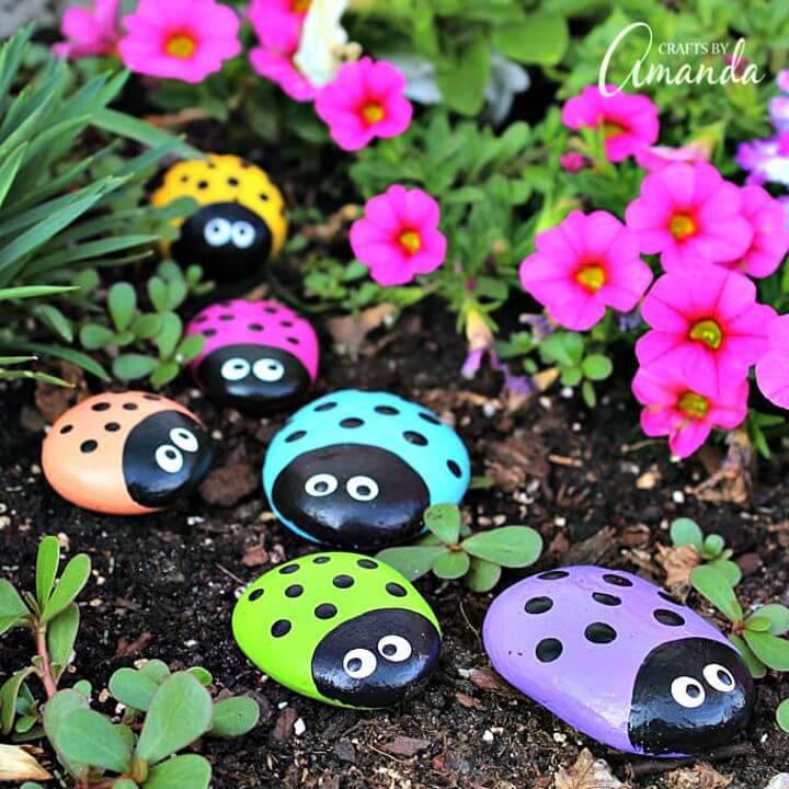 Pretty DIY Ladybug Painted Rocks
