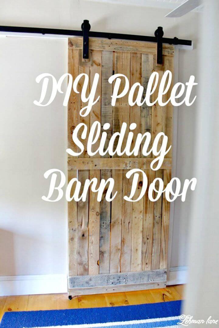 Simple DIY Pallet Sliding Barn Door of Your Bathroom