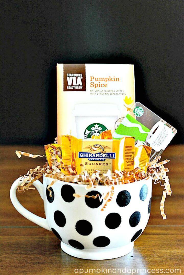 DIY Polka Dot Coffee Mug Gift for Coffee Lovers